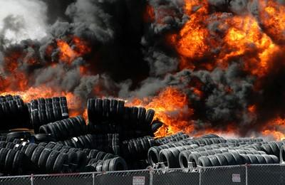 Flaming Tires Coming Out Of Hole Royalty Free Stock Photo ... |Flamming Tire